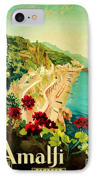 IPhone Case featuring the mixed media 1927 Amalfi Italy Vintage Travel Art by Presented By American Classic Art