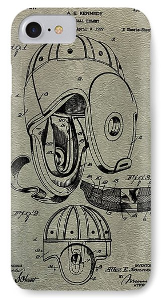 1927 Football Helmet Patent IPhone Case by Dan Sproul