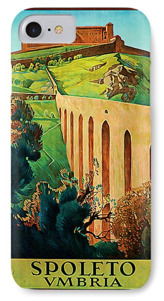IPhone Case featuring the mixed media 1927 Spoleto Vintage Travel Art by Presented By American Classic Art