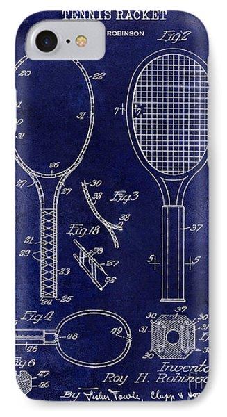 1927 Tennis Racket Patent Drawing Blue IPhone Case by Jon Neidert