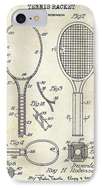 1927 Tennis Racket Patent Drawing  IPhone Case by Jon Neidert