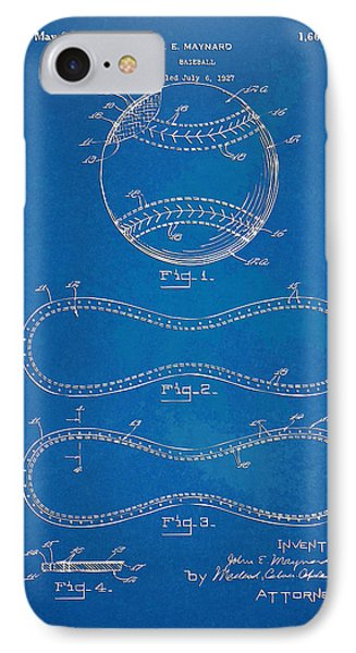 1928 Baseball Patent Artwork - Blueprint IPhone Case by Nikki Smith