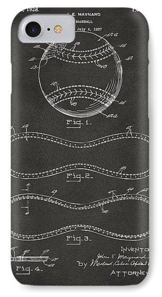 Baseball iPhone 7 Case - 1928 Baseball Patent Artwork - Gray by Nikki Marie Smith