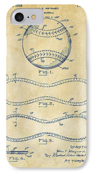 1928 Baseball Patent Artwork Vintage IPhone Case by Nikki Marie Smith
