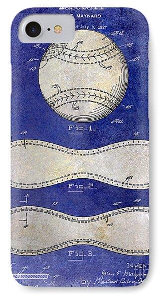 1928 Baseball Patent Drawing 2 Tone Blue IPhone Case by Jon Neidert