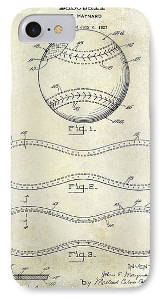 1928 Baseball Patent Drawing  IPhone Case