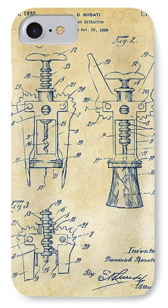 1928 Cork Extractor Patent Artwork - Vintage IPhone Case