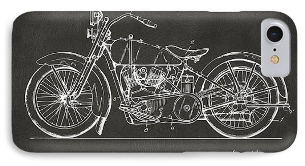 1928 Harley Motorcycle Patent Artwork - Gray IPhone Case by Nikki Marie Smith