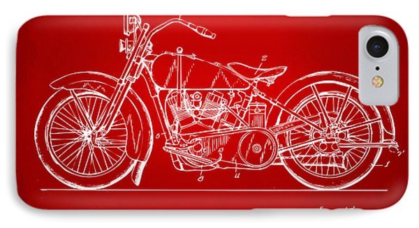 1928 Harley Motorcycle Patent Artwork Red IPhone Case