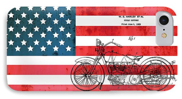 1928 Harley Patent American Flag IPhone Case by Dan Sproul