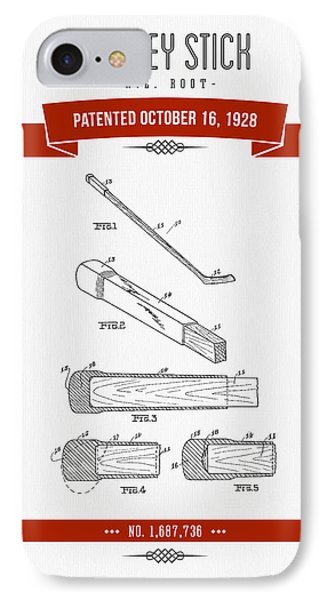 1928 Hockey Stick Patent Drawing - Retro Red IPhone Case