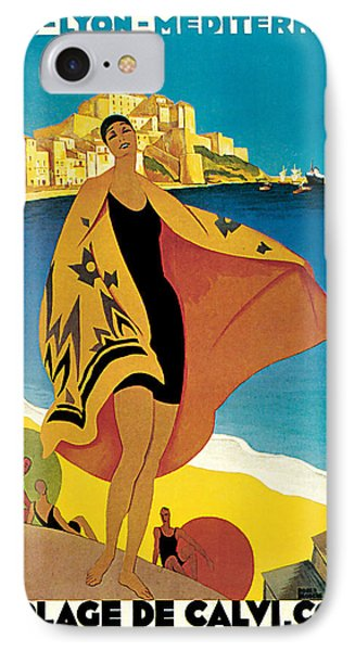 IPhone Case featuring the mixed media 1928 La Plage De Calvi - Vintage Travel    Art by Presented By American Classic Art
