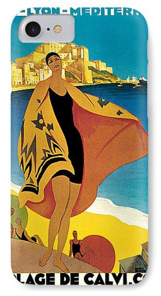 1928 La Plage De Calvi - Vintage Travel    Art IPhone Case by Presented By American Classic Art