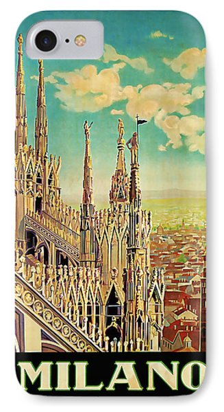 IPhone Case featuring the mixed media 1928 Milano - Vintage Travel Art by Presented By American Classic Art