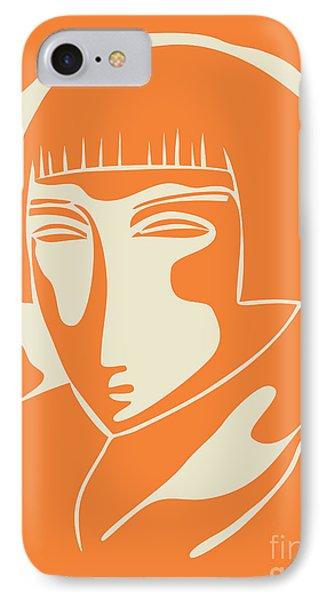 1928 Woman Face   Orange IPhone Case by Igor Kislev
