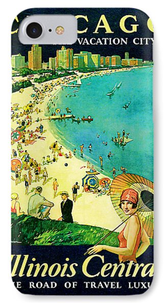 1929 Chicago - Vintage Travel Art IPhone Case by Presented By American Classic Art