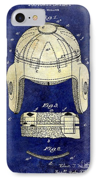 1929 Football Helmet Patent Drawing 2 Tone Blue IPhone Case by Jon Neidert