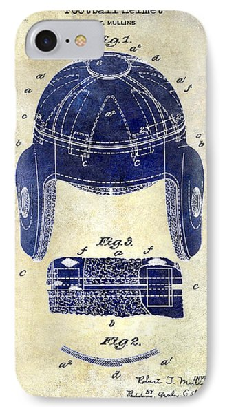 1929 Football Helmet Patent Drawing 2 Tone IPhone Case by Jon Neidert