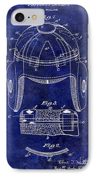 1929 Football Helmet Patent Drawing Blue IPhone Case by Jon Neidert
