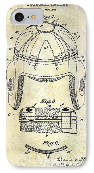 1929 Football Helmet Patent Drawing IPhone Case by Jon Neidert