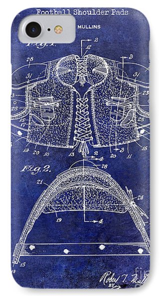 1929 Football Shoulder Pads Patent Drawing Blue IPhone Case by Jon Neidert