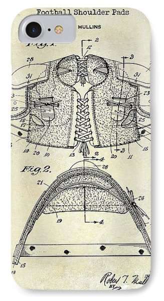 1929 Football Shoulder Pads Patent Drawing IPhone Case by Jon Neidert