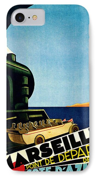 IPhone Case featuring the mixed media 1929 Marseille Point De Depart Cote D Azur - Vintage Travel Art by Presented By American Classic Art