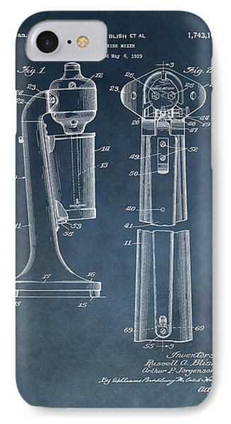 Bloody Mary iPhone 7 Case - 1930 Drink Mixer Patent Blue by Dan Sproul