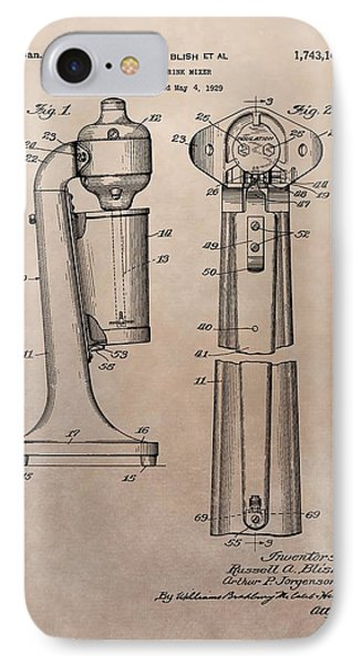 1930 Drink Mixer Patent IPhone 7 Case by Dan Sproul