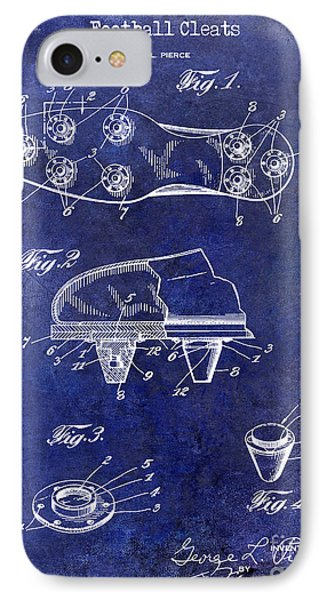 1930 Football Cleats Patent Drawing Blue IPhone Case by Jon Neidert