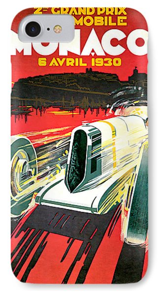 IPhone Case featuring the mixed media 1930 Monaco Grand Prix Vintage Car Art by Presented By American Classic Art
