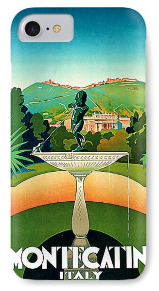 IPhone Case featuring the mixed media 1930 Montecatini Italy Vintage Travel Art by Presented By American Classic Art