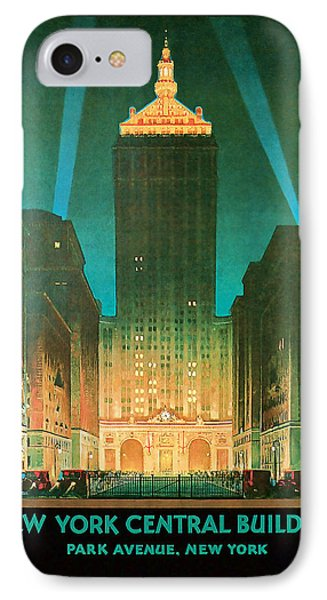 IPhone Case featuring the mixed media 1930 New York Central Building - Vintage Travel Art by Presented By American Classic Art