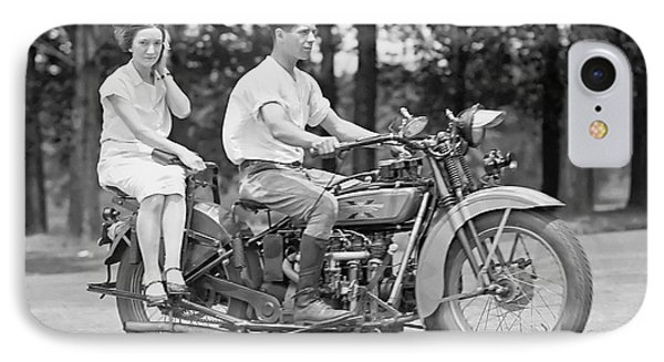 Motorcycle iPhone 7 Case - 1930s Motorcycle Touring by Daniel Hagerman