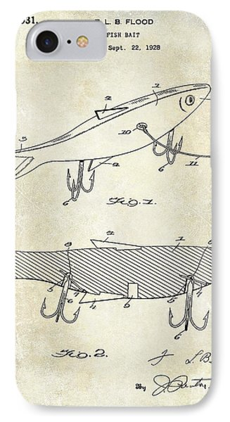 1931 Fish Bait Patent Drawing IPhone Case by Jon Neidert