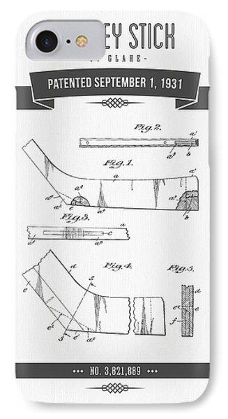 1931 Hockey Stick Patent Drawing - Retro Gray IPhone Case