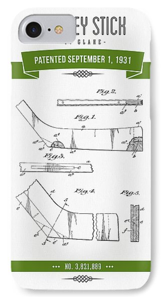 1931 Hockey Stick Patent Drawing - Retro Green IPhone Case