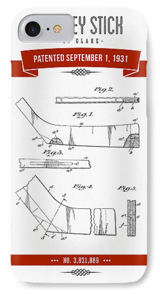 1931 Hockey Stick Patent Drawing - Retro Red IPhone Case
