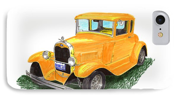 1931 Yellow Ford Coupe Phone Case by Jack Pumphrey