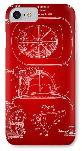 1932 Fireman Helmet Artwork Red IPhone Case