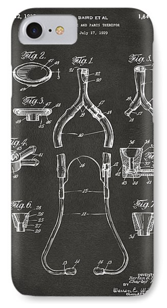 1932 Medical Stethoscope Patent Artwork - Gray IPhone Case by Nikki Marie Smith
