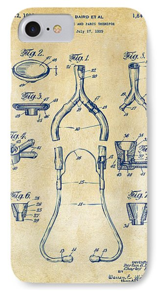 1932 Medical Stethoscope Patent Artwork - Vintage IPhone Case by Nikki Marie Smith