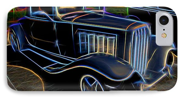 1932 Nash Coupe Antique Car - Neon IPhone Case by Gary Whitton