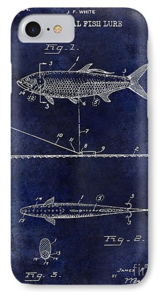 1934 Artificial Fish Lure Patent Drawing Blue IPhone Case