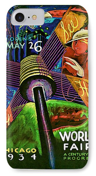 IPhone Case featuring the mixed media 1934 Chicago Worlds Fair - Vintage Travel Art by Presented By American Classic Art