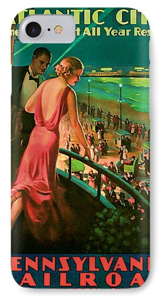 IPhone Case featuring the mixed media 1935 Atlantic City Vintage Travel Art by Presented By American Classic Art