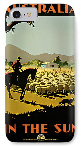 IPhone Case featuring the mixed media 1935 Australia In The Sun - Vintage Travel Art by Presented By American Classic Art