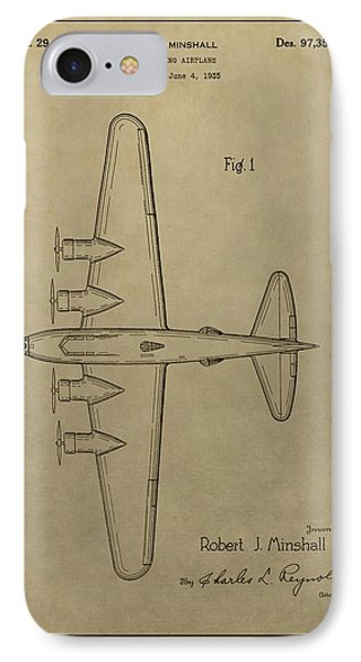 1935 Bombing Airplane Patent IPhone Case by Dan Sproul