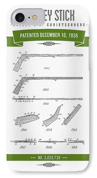 1935 Hockey Stick Patent Drawing - Retro Green IPhone Case