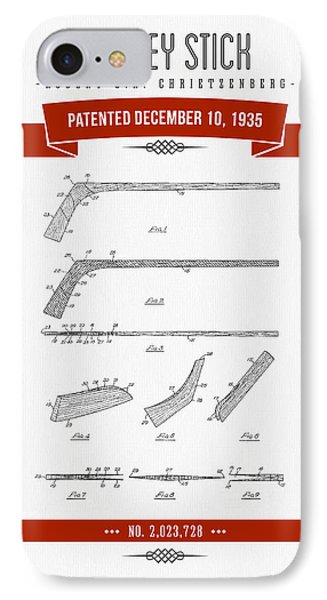 1935 Hockey Stick Patent Drawing - Retro Red IPhone Case